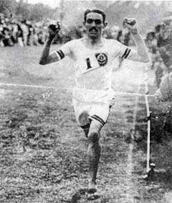 Alf Shrubb, who in 1904 broke the six mile (29.59.4), ten mile (50.40.6) and the hour (11miles,1,137yards)records in one race wearing 'Joe Foster's Famous Shoes'
