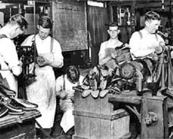 Inside the Olympic Works, Joe is on the far right, Billy has his back to the camera on the left, Foster's Originals and De-Luxe in production