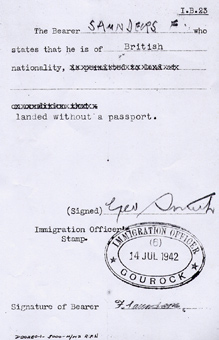 Immigration Slip