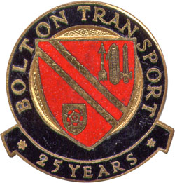 Bolton Transport 25 Years Service badge